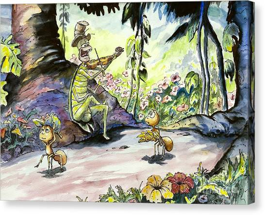 The Ant And The Grasshopper Canvas Print
