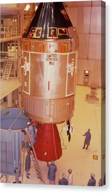 The Apollo 11 Spacecraft Being Prepared For Launch Canvas Print by Nasa/science Photo Library