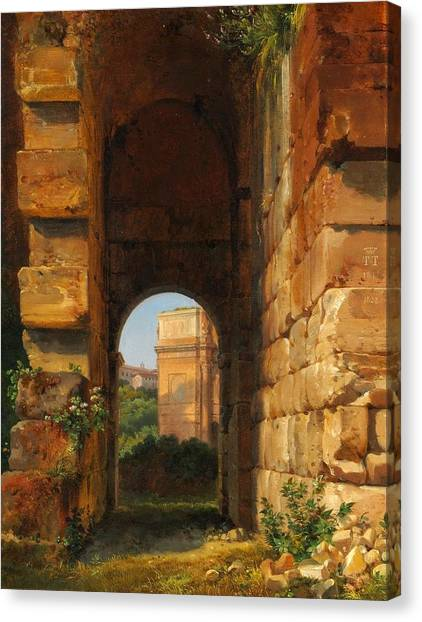 The Colosseum Canvas Print - The Arch Of Constantine Seen From The Colosseum by Celestial Images