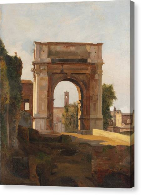 The Forum Canvas Print - The Arch Of Titus And The Forum. Rome by Jules Coignet