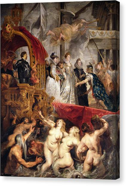Neptune Canvas Print - The Arrival Of Marie De Medici In Marseilles, 3rd November 1600, 1621-25 Oil On Canvas by Peter Paul Rubens