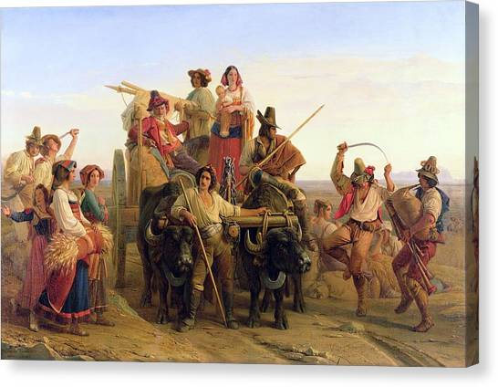 Bagpipes Canvas Print - The Arrival Of The Harvesters In The Pontine Marshes, 1830 Oil On Canvas by Louis Leopold Robert