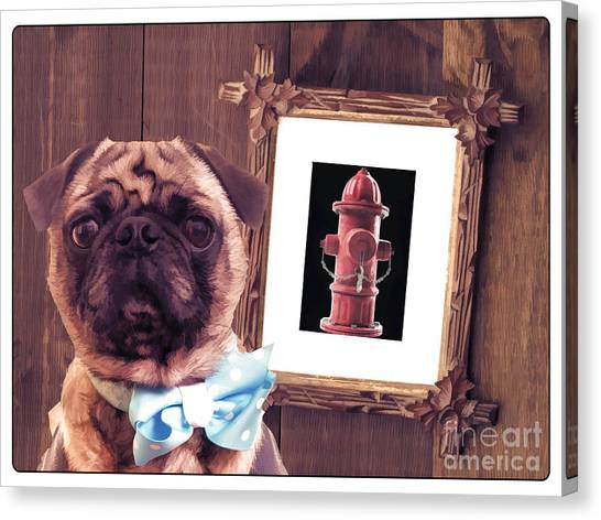 Pugs Canvas Print - The Artist And His Masterpiece by Edward Fielding