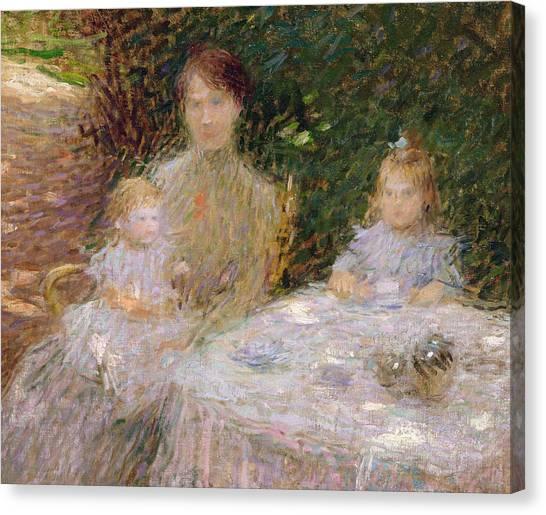 Jardin Canvas Print - The Artist's Family In The Garden by Ernest-Joseph Laurent