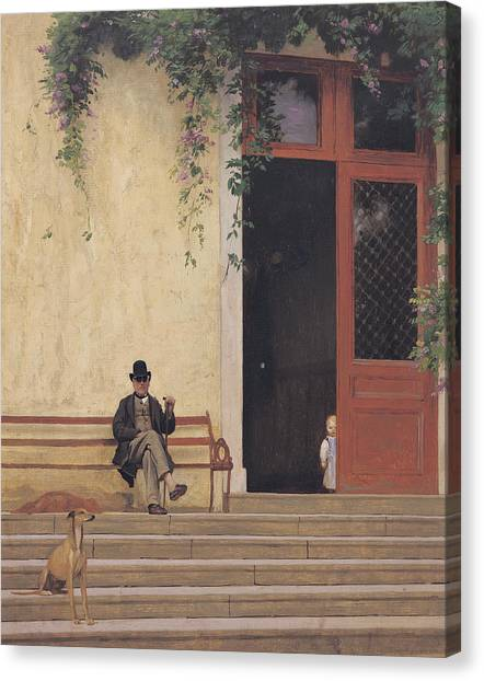 Father And Son Canvas Print - The Artist's Father And Son On The Doorstep Of His House by Jean Leon Gerome