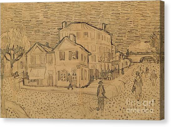 Pen And Ink Drawing Canvas Print - The Artists House In Arles by Vincent Van Gogh