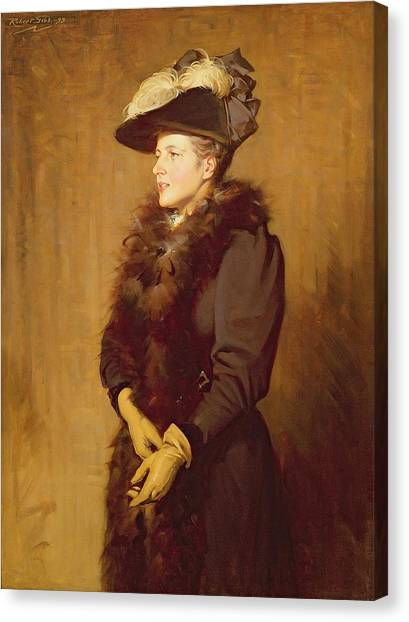 Boas Canvas Print - The Artists Wife, 1893 by Robert Gibb