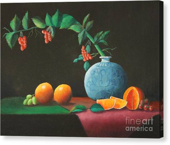 The Asian Vase And Oranges Canvas Print