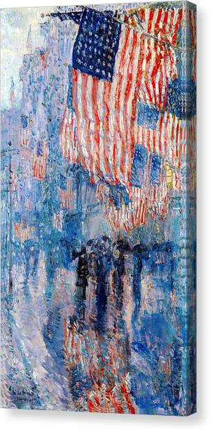 American Flag Canvas Print - The Avenue In The Rain by Frederick Childe Hassam