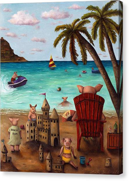 Jet Skis Canvas Print - The Bacon Shortage Brighter by Leah Saulnier The Painting Maniac
