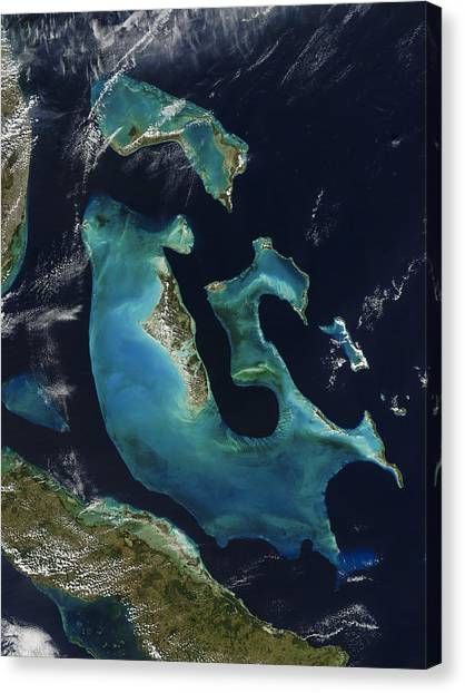Satellite Canvas Print - The Bahamas by Adam Romanowicz