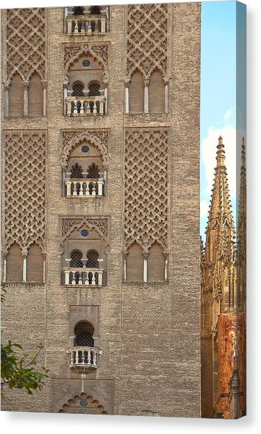 The Balconies Of Seville Cathedral Belfry Canvas Print by Viacheslav Savitskiy