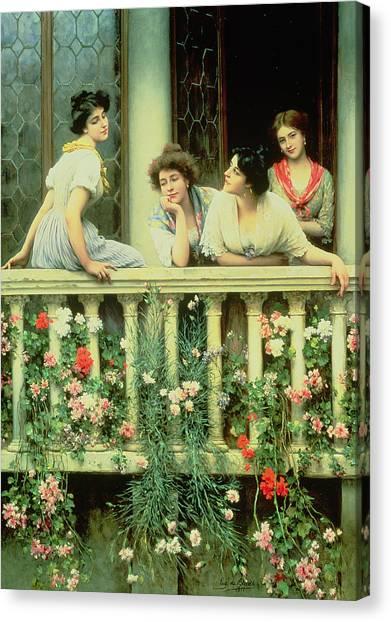 Daydream Canvas Print - The Balcony by Eugen von Blaas