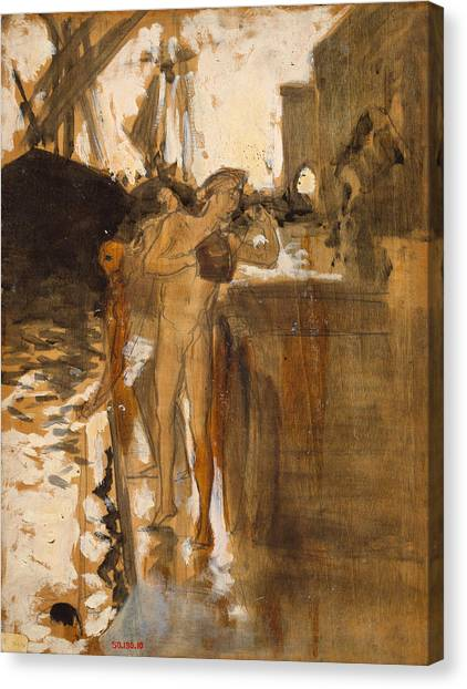 The Metropolitan Museum Of Art Canvas Print - The Balcony Spain And Two Nude Bathers On A Wharf by John Singer Sargent