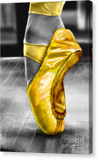 Ballet Shoes Canvas Print - The Ballerina N Yellow  by Reggie Duffie