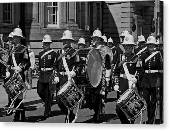 Royal Marines Canvas Print - The Band Of Her Majesty's Royal Marines March Through Liverpo by Ken Biggs