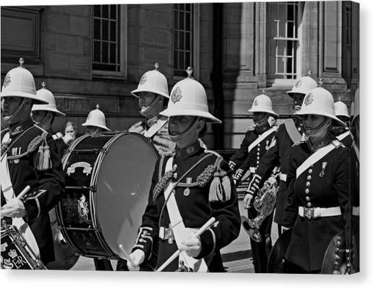 Royal Marines Canvas Print - The Band Of Her Majesty's Royal Marines Marching Through Liverpo by Ken Biggs