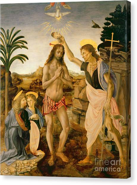 River Jordan Canvas Print - The Baptism Of Christ By John The Baptist by Leonardo da Vinci