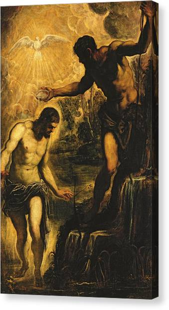 River Jordan Canvas Print - The Baptism Of Christ by Jacopo Robusti Tintoretto