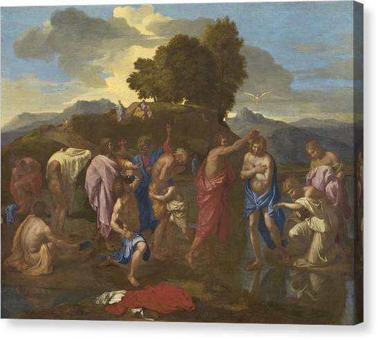 River Jordan Canvas Print - The Baptism Of Christ by Nicolas Poussin
