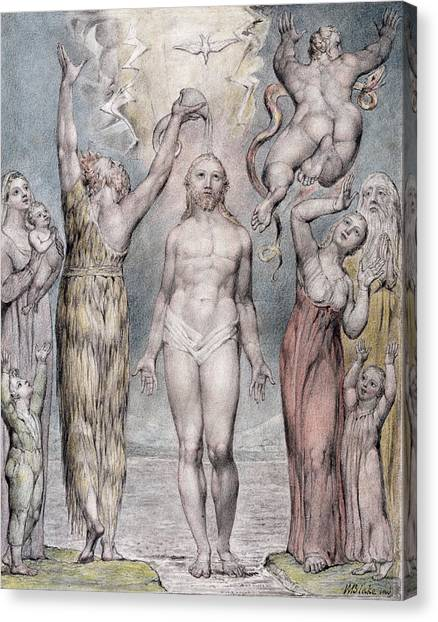 Signature Canvas Print - The Baptism Of Christ by William Blake