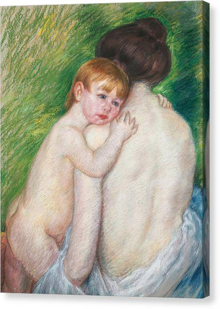 Child Drawing Canvas Print - The Bare Back by Mary Cassatt Stevenson