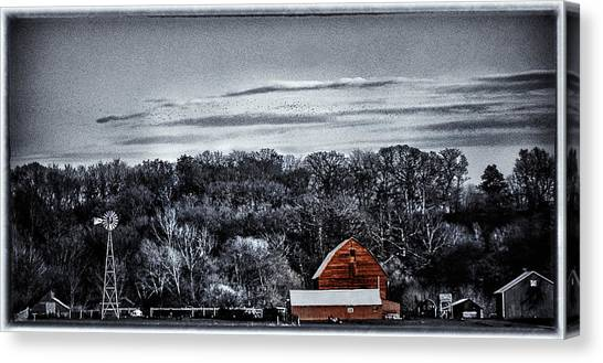 The Barn And The Windmill Canvas Print