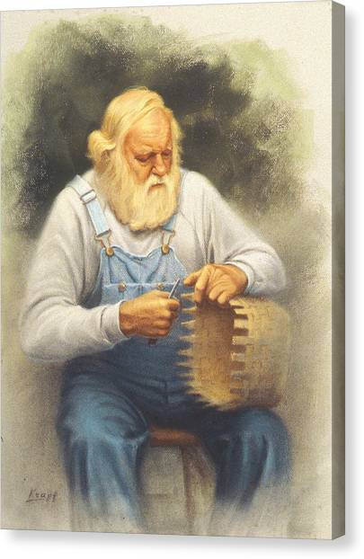 The Basketmaker In Pastel Canvas Print by Paul Krapf