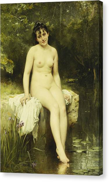 Academic Art Canvas Print - The Bather by Leon Bazile Perrault
