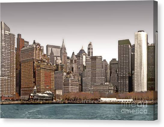 The Battery New York City Canvas Print by Linda  Parker