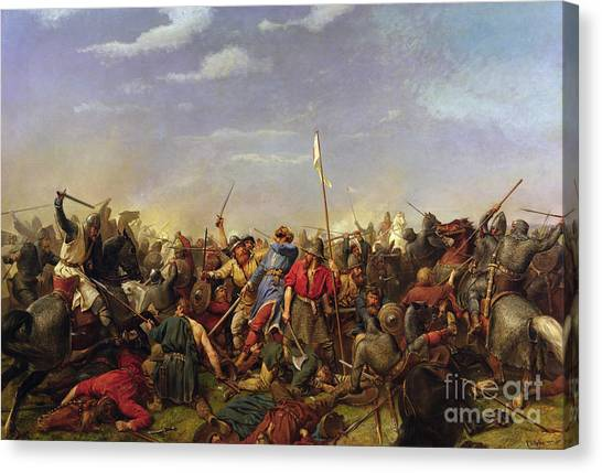 The Battle At Stamford Bridge Canvas Print by Peder Nicolai Arbo