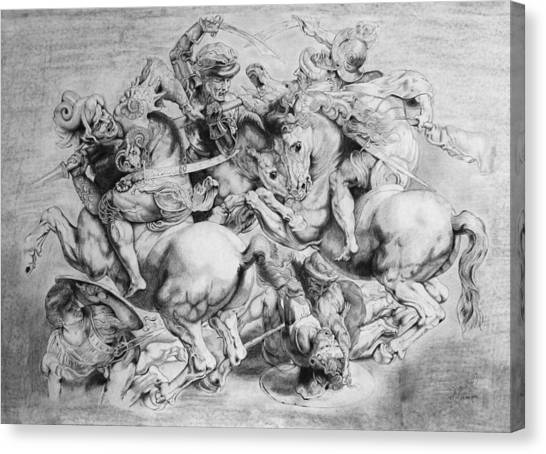 The Battle Of Anghiari Canvas Print by Miguel Rodriguez