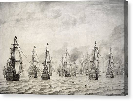 The British Museum Canvas Print - The Battle Of Dunkirk, 1659, By Willem Van De Velde I1611-1693 by Bridgeman Images