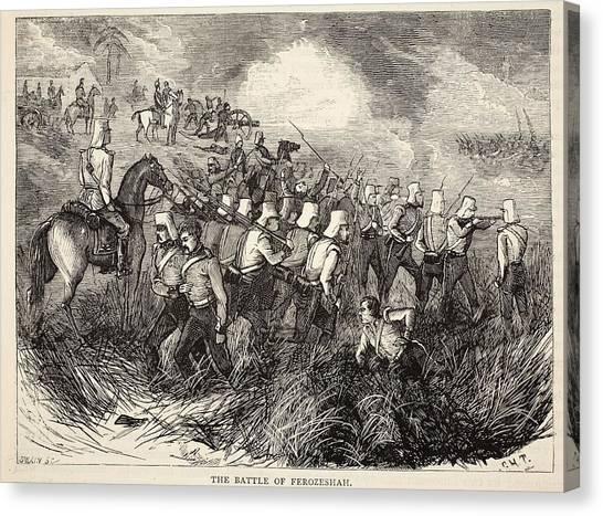 Sikh Canvas Print - The Battle Of Ferozeshah, Illustration by English School