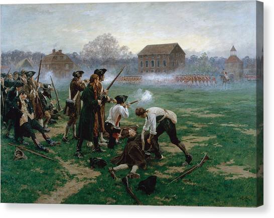 New England Revolution Canvas Print - The Battle Of Lexington, 19th April 1775 by William Barnes Wollen