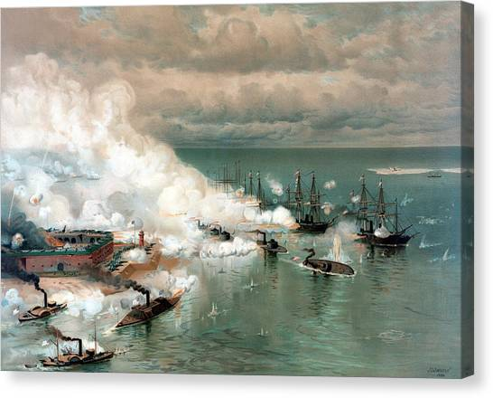 Battleship Canvas Print - The Battle Of Mobile Bay by War Is Hell Store