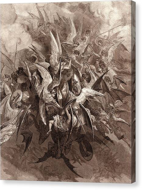 The Legion Canvas Print - The Battle Of The Angels by Gustave Dore