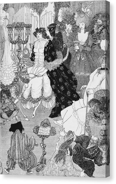 Music Stands Canvas Print - The Battle Of The Beaux And The Belles by Aubrey Beardsley