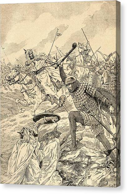 Protective Clothing Canvas Print - The Battle Of Tours Aka The Battle Of Poitiers, 732.   From Agenda Buvard Du Bon Marche Published by Bridgeman Images