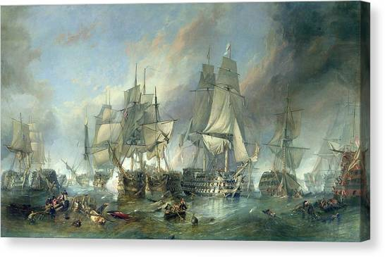 Royal Marines Canvas Print - The Battle Of Trafalgar, 1805 by Clarkson RA Stanfield