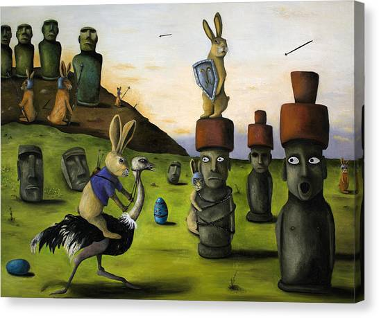Emus Canvas Print - The Battle Over Easter Island by Leah Saulnier The Painting Maniac