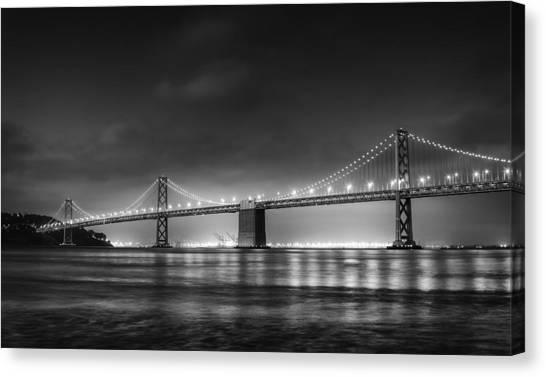 Bay Canvas Print - The Bay Bridge Monochrome by Scott Norris
