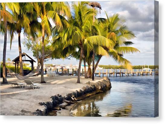 The Beach At Coconut Palm Inn Canvas Print