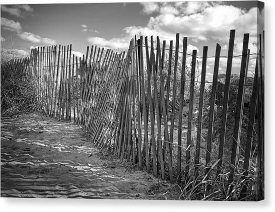 White Sand Canvas Print - The Beach Fence by Scott Norris