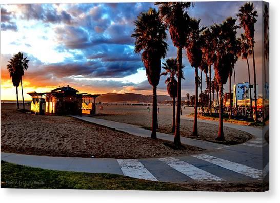 Canvas Print featuring the digital art The Beach by Visual Artist Frank Bonilla