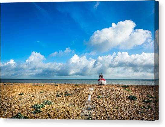 Canvas Print featuring the photograph The Beached Boat. by Gary Gillette