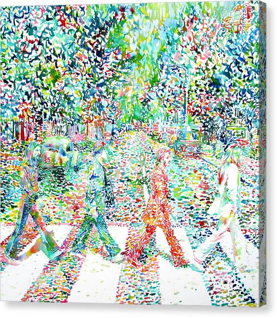 The Beatles - Abbey Road - Watercolor Painting Canvas Print