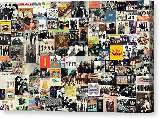 Music Canvas Print - The Beatles Collage by Taylan Apukovska
