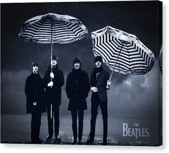 Paul Mccartney Canvas Print - The Beatles In The Rain by Aged Pixel