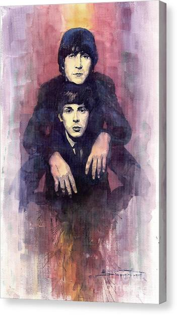 Beatles Canvas Print - The Beatles John Lennon And Paul Mccartney by Yuriy Shevchuk